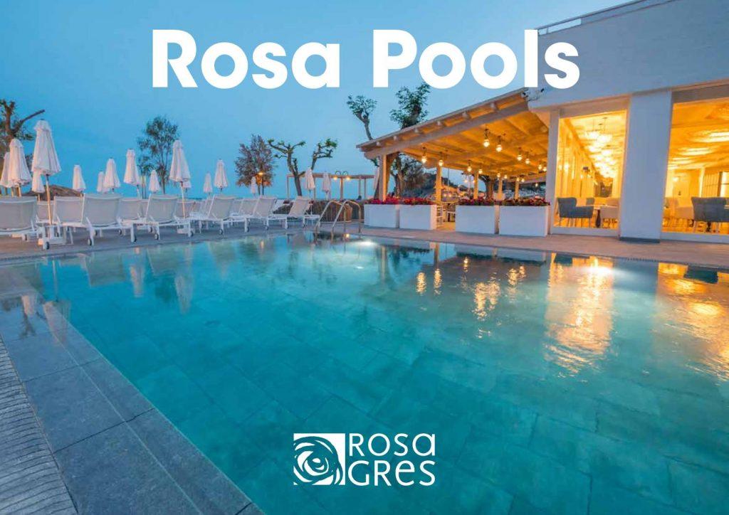 En este catálogo se muestra la serie Rosa pools que cuenta con elementos cerámicos para la decoración de estilos exteriores y piscinas