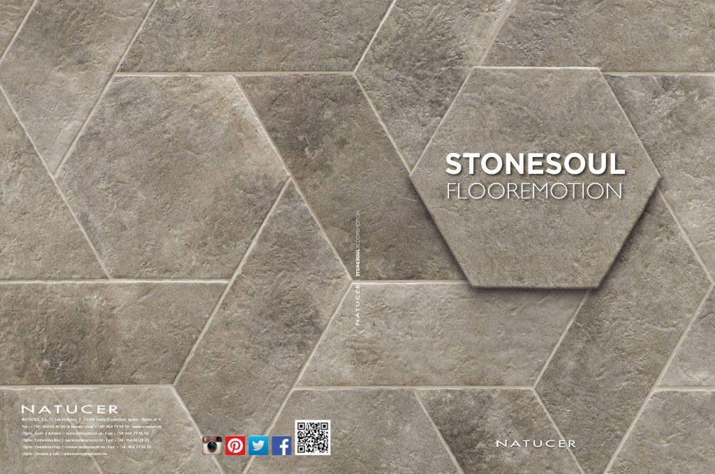 Stonesoulnos ofrece piezas cuadradas con textura pétrea ideales para suelos