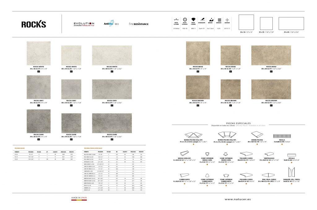Catálogo Natucer de la serie Roks ofrece azulejos cerámicos de imitación piedra