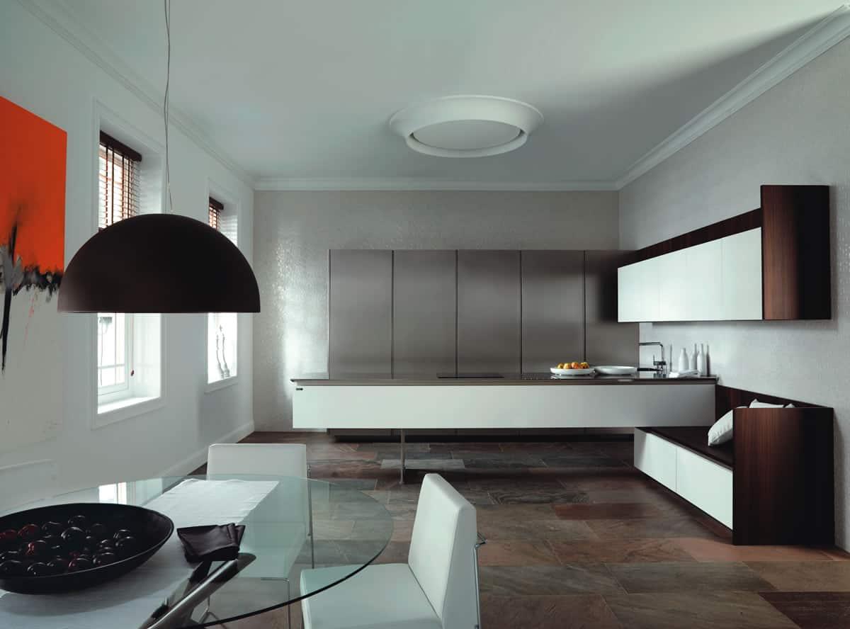 krion blanco con acero inox y madera natural ukola01